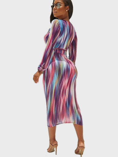 Wrap Crop Top + Midi Skirt Tie Dye Women Set
