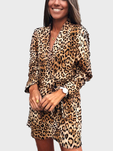 OneBling Long Sleeve Leopard Wrap Mini Dress with Tie Waist