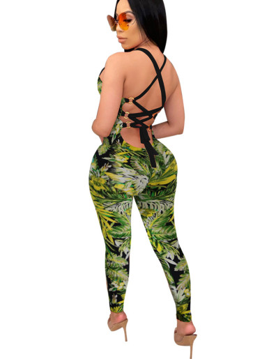 Strappy Back Women Jumpsuit In Leaf Print
