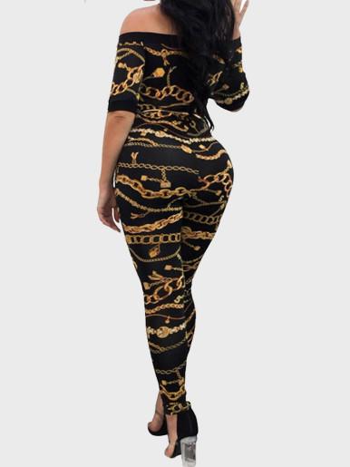 Chain Print Off Shoulder Women Jumpsuit