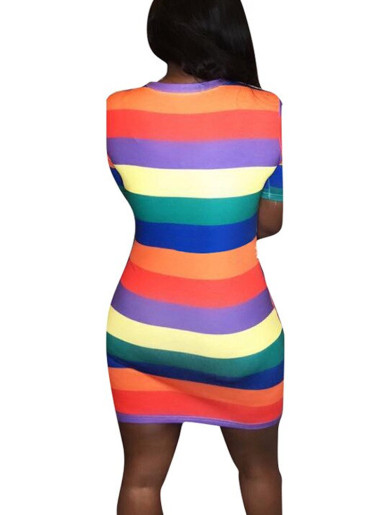 Sequin Cartoon Graphic Women T-Shirt Dress In Rainbow Stripe
