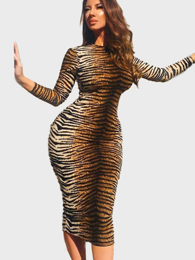 OneBling Long Sleeve Turtle Neck Bodycon Dress In Animal Skin