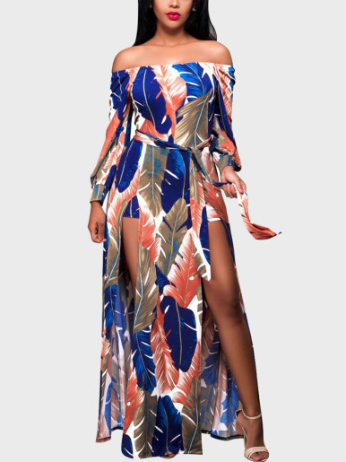 Tropical Leaf Print Off Shoulder Maxi Dress with Double Split