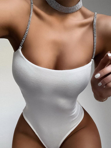 Solid Women Bodysuit with Crystal Strap Detail