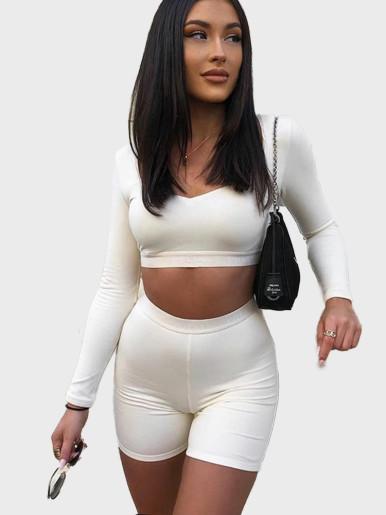 Sweetheart Crop Top +Shorts Women Set