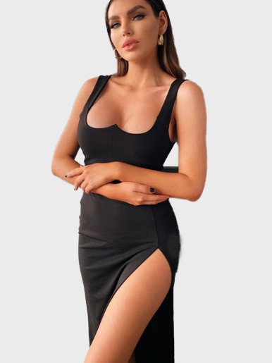 Sweetheart Black Midi Dress with High Split