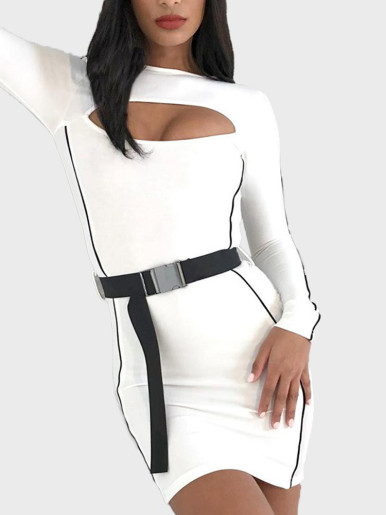 Contrast Tipping Cut Out Mini Dress with Buckle Belt