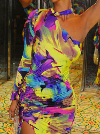 Abstract Tie Dye One Shoulder Maxi Dress with Fluted Sleeve