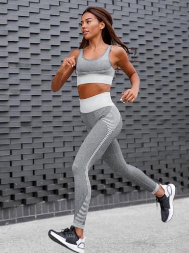 Striped Texture Women Fitness Set