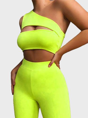 Solid Women Set One Shoulder Crop Top + Shorts
