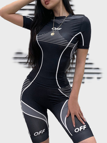 Geo Print Women Sporty Set with Tipping