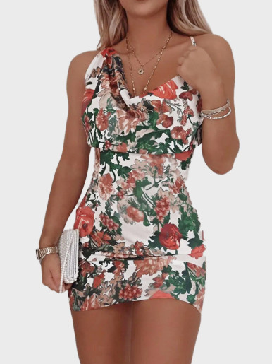 Asymmetric Shoulder Mini Dress In Flower Print