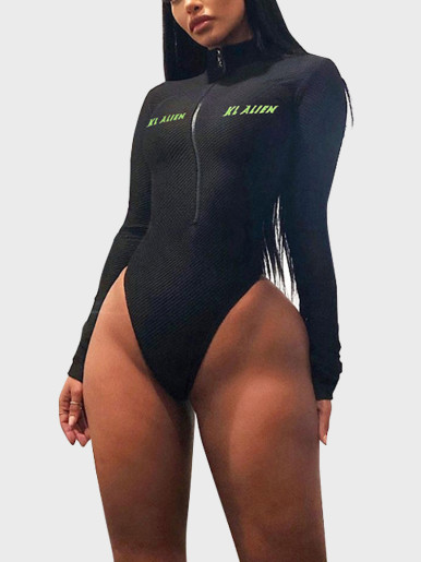Texture Women Zipper Bodysuit with Neon Green Logo