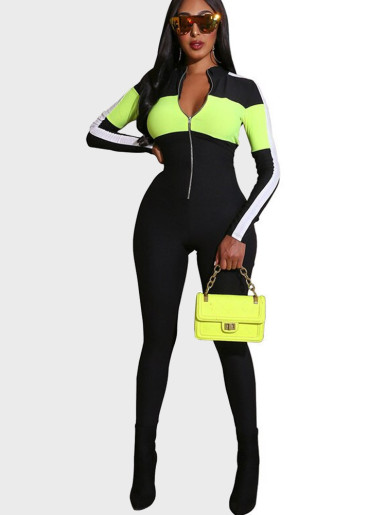 Zip Up Women Fitness Jumpsuit with Contrast Taping