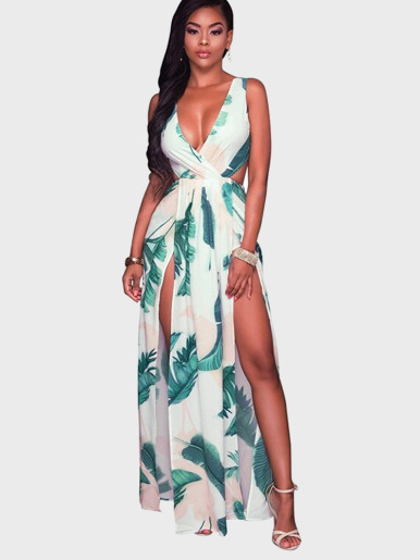 Wrap Front Double High Split Maxi Dress In Leaf Print