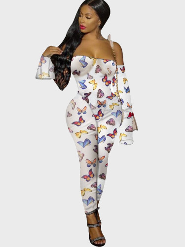 Animal Print Off Shoulder Women Jumpsuit with Fluted Sleeve