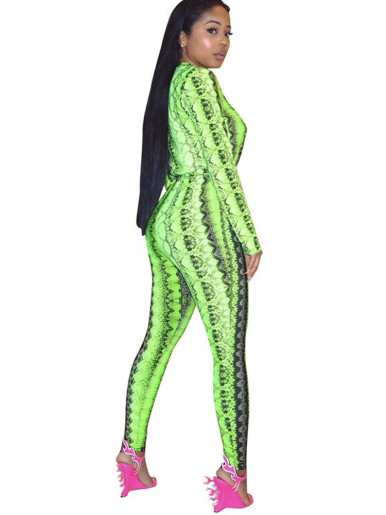 Zip Up Long Sleeve Women Jumpsuit In Snake