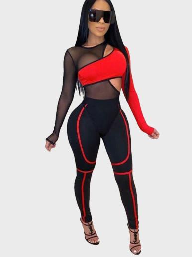 Mesh Panelled Bodysuit + Pant Women Set