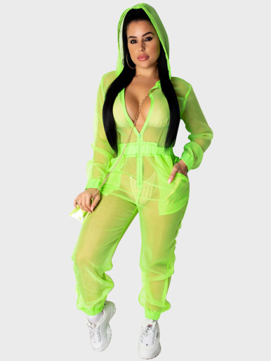 Sexy Neon Sheer Mesh Hooded Women Jumpsuit