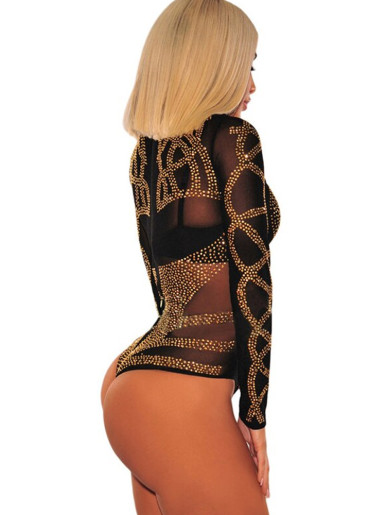 Rhnestone Pattern Sheer Mesh Women Bodysuit