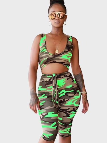 Contrast Camo Print Cut Out Women Cropped Jumpsuit