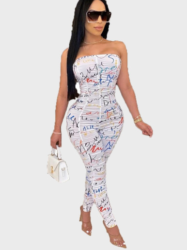 Letter Print Ruched Strapless Jumpsuit Women