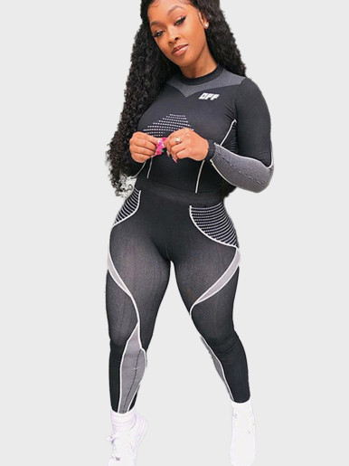 Contrast Panels and Tipping Women Sporty Set