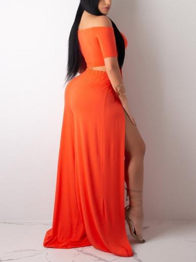 Solid Women Set Off Shoulder Crop Top + Maxi Skirt