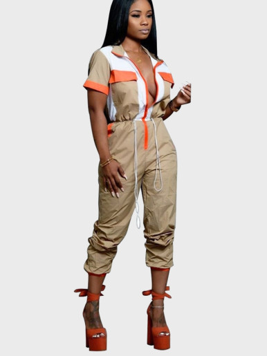Short Sleeve Zipper Front Women Jumpsuit with Drawstring