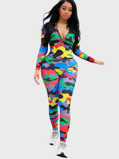 Colourful Camo Print Zip Up Women Jumpsuit