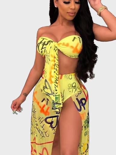 Letter Print Bra Top + Skirt Women Set