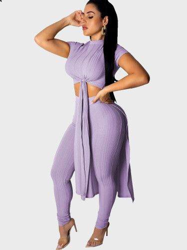 2 Piece Knitted Women Set Extreme Top + Pant