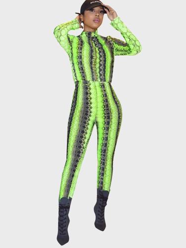 Zip Up Long Sleeve Women Jumpsuit In Snake