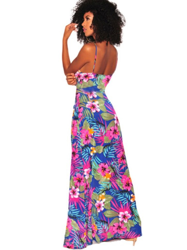 Printed Cami Strap Maxi Dress with Tie Front and High Split