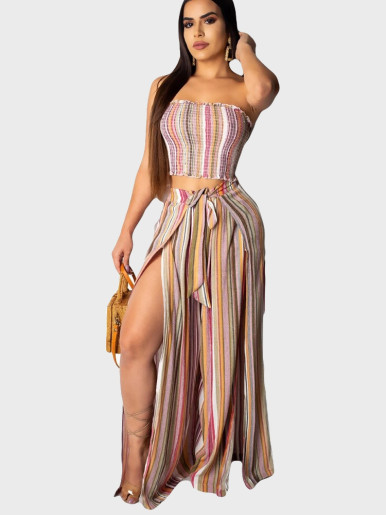 Colourful Stripe Women Set Tube Top + Pant