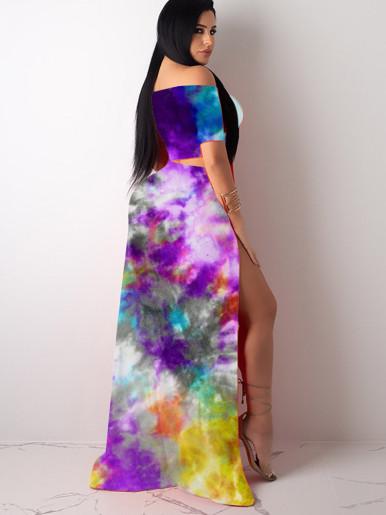 Off Shoulder Crop Top + Split Skirt Women Set