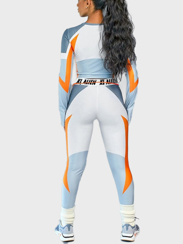 Long Sleeve CropTop Slim Outfit Tracksuit Two Pieces