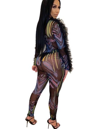 Printed Mesh Deep Plunge Bodysuit + Pant Women Set