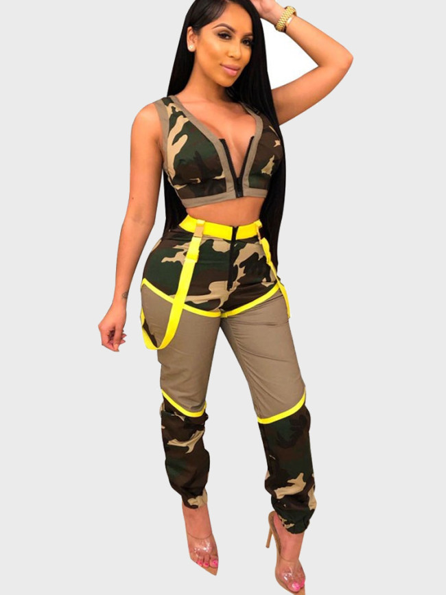 Camo Print Summer Women 2 Piece Outfits