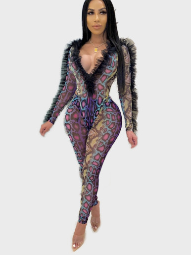 Sexy Printed Women Set Frill Trim Bodysuit + Pants