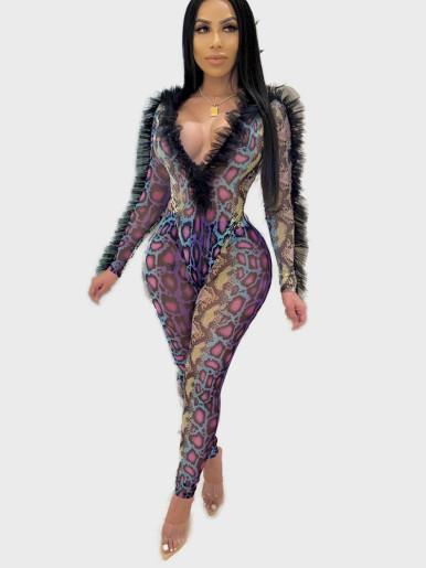 Sexy Printed Women Set Frill Trim Bodysuit + Pants