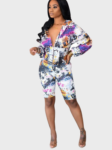 Printed Hoodie and Shorts Women Set