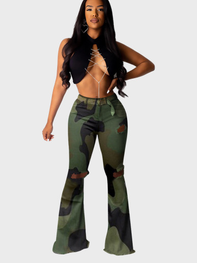Laser Cut Printed Flare Pants Women