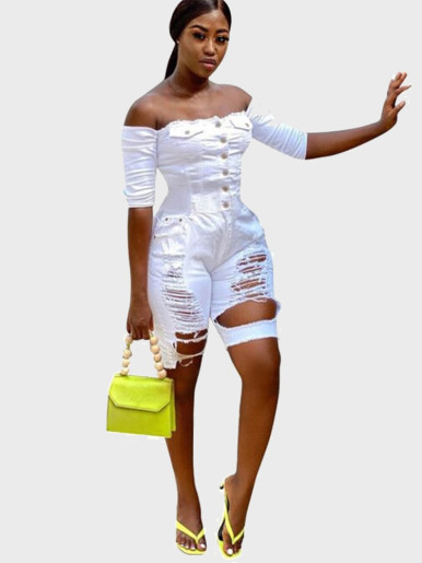 Off Shoulder Women Denim Playsuit In White with Heavy Rips