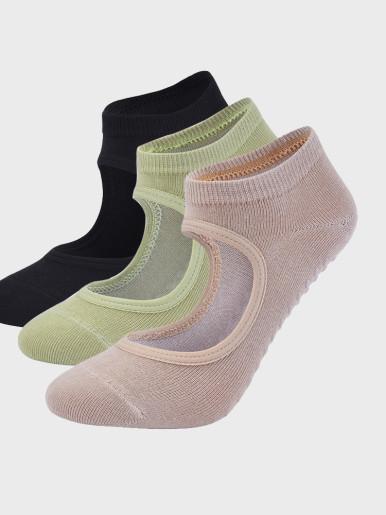 Backless Pilates Grip Socks Anti-Slip Cotton Yoga Socks