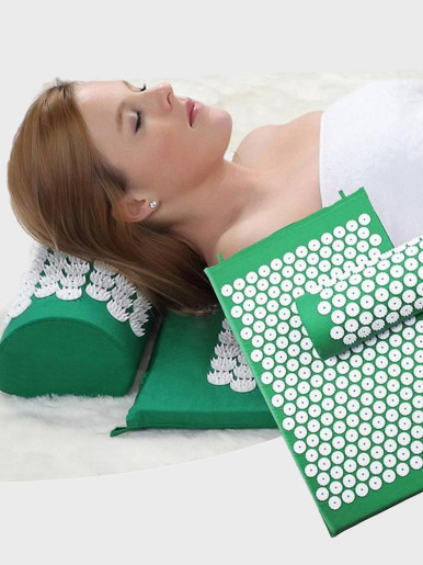 Acupressure Relieve Stress Back Acupuncture Massage Yoga Mat with Pillow