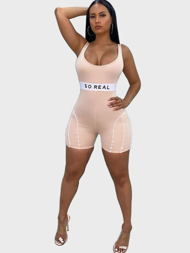 Skinny Playsuit Women with Stitching and Logo Taping