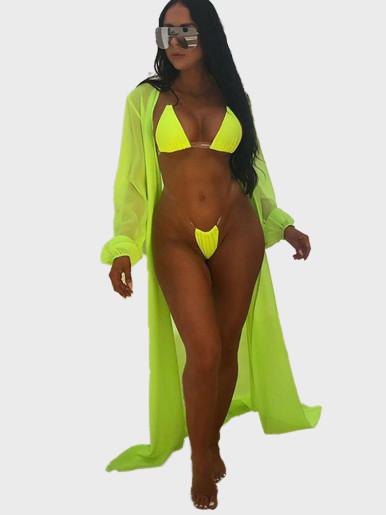 Neon Bikini Set + Longline Cover Up