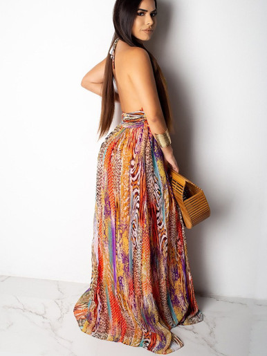 Printed Halter Maxi Dress with High Split