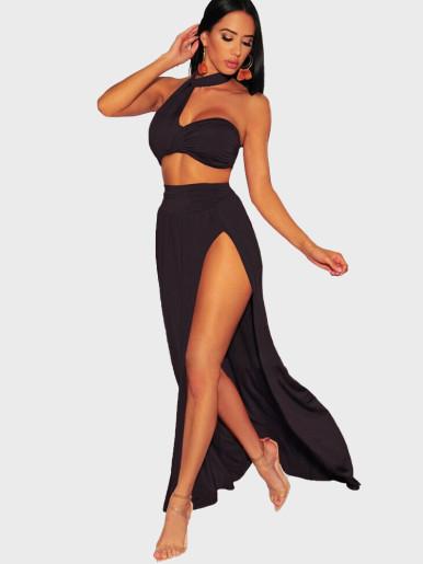 Bra Top + Split Skirt Women Beach Set
